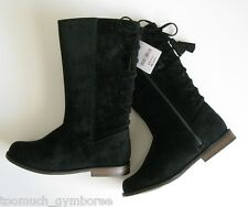 Gymboree Right Meow Boots Size 12 Black Velvet New Lace Up Girls Winter