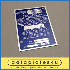 CHEVROLET TRUCK INFO DATA PLATE ID TAG VIN REGISTRATION DOOR POST 82 HP - 177 HP
