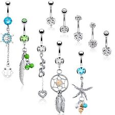 BodyJ4You 10 Belly Button Rings 5 Replacement Balls 14G Steel CZ Crystals Navel