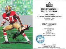 RARE JIMMY JOHNSON SIGNED GOAL LINE ART CARD~BLUE SEAL ENSHRINEE PROOF~HOF AUTO