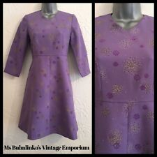 Vintage 60s Lilac Purple Flared Mini Dress Size 8 10 Mod Boho GoGo