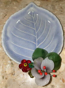 """Vintage Small Blue Plate Leaf With Glass Flowers 6.5x4.5"""" Signed Trinket Dish"""