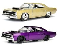 1:24 scale 1970 Plymouth Road Runner (CHAMPAGNE / PURPLE) by Jada Bigtime Muscle