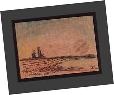 "ACEO ""Oil Piers + Sailboats"" 2007 Contemporary Art Seascape PAINTING SIGNED sea"