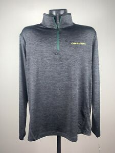 Men's Colosseum Oregon Ducks Gray Action Pass 1/4 Zip Long Sleeve Shirt NWT 2XL