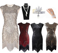 1920s Flapper Dress Great Gatsby Cocktail Sequin Art Deco Tassel Vintage Dresses