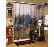 AVANTI BLACK BEAR FAMILY LODGE Fabric SHOWER CURTAIN New In Package Hunting Den
