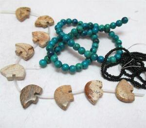 Picture Jasper Bear Totem Beads + Turquoise Jasper 6mm, and Black Czech seed