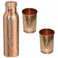 100% Copper Bottle And 2 Glass Water Bottle Hammered Health Ayurveda Leak Proof