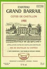 Etiquette vin de Bordeaux-Côtes de Castillon(1988)-Château Grand Barrail-Réf.468