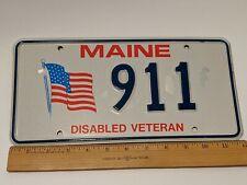 MAINE LICENSE PLATE DISABLED VETERAN 911 FLAG DAMAGED