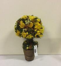 New Design Potted 33cm Artificial Topiary / Plant Rose & Gyp Yellow