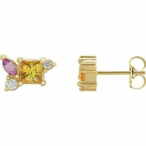 Yellow Sapphire, Pink sapphire, & 1/8 CTW Diamond Earrings In 14K yellow Gold