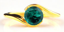 Solid 14KT Yellow Gold Natural Zambian Green Emerald 1.20 Carat Women's Ring