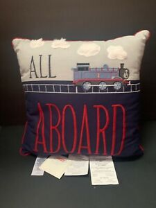 Pottery Barn Kids All Aboard Train PILLOW Thomas Friends Bed Bedroom Gift NEW