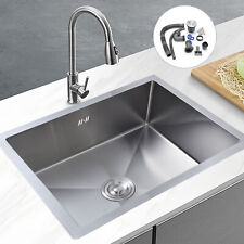 More details for stainless steel undermount kitchen sink square single bowl & drainer waste kit