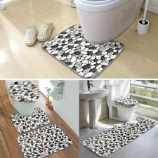3Pc Stone Pattern Washable Anti-Slip Bathroom Pedestal Rug Carpet Cover Bath Mat