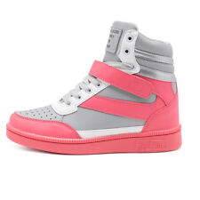 Women's Sports Shoes Wedge Hidden Heel Trainners High Top Boot Sneakers Lace Up