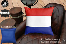 """NETHERLAND FLAG COLOUR LEATHER 1X EXCLUSIVE LUXURY CUSHION 18""""x18"""" MID BLUE BACK"""