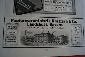 1916 Zeitungsdruck Reklame Ica Dresden Kamera / Firma Kratzsch Landshut