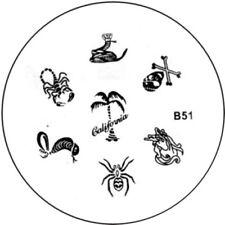 Stamping plaque pochoir B51 pour vernis Konad nail art