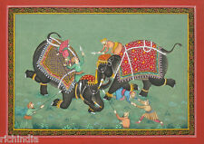 Royal Elephant Fight Miniature Painting Handmade art Traditional Antique INDIA