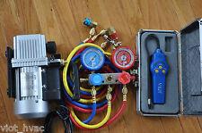 HVAC Tool Kit:Rotary Vacuum Pump+Manifold Gauge+Hose+Leak Detector+R134a Coupler