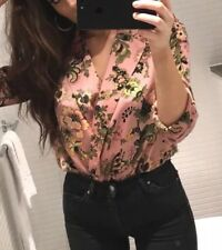 ZARA PINK FLORAL PRINT BODYSUIT WITH LAPEL COLLAR TOP SHIRT SIZE Small BNWT