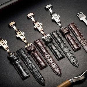 Uhrenarmbänder Kalbslederarmband Uhrband Butterfly-Faltschließe Mit Werkzeug