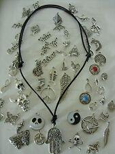 Black ADJUSTABLE REAL LEATHER Cord Tibetan Silver Charm Pendant Necklace Choker