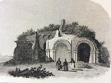 Ruine près de Saint Macé Maine et Loire gravure sur acier milieu XIXe France