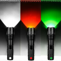Red Green White 3 in 1 Zoomable LED Tactical Flashlight Hunting Torch Lamp Light