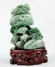 A Grade Jadeite Jade Carving Fish Lotus Statue Sculpture Art w/ Certificate