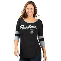 NFL Los Angeles Raiders Officially Licensed Women's 3/4 Sleeve T-Shirt Black