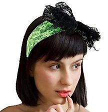 80s Neon Fancy Dress Lace Alice Band GREEN