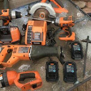 Ridgid 18v Circular Saw Recip Saw (2) Drills (3) Batteries Light (2) Chargers GC