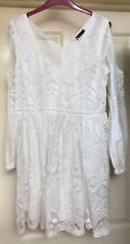 Boohoo White Lace Effect Dress Size 12