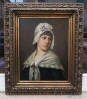 Camilla Zach-Dorn (1859-1940) - Portrait junges Mädchen mit Haube - Prunkrahmen