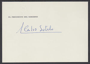 Leopoldo Calvo-Sotelo, Spain Prime Minister signed card w/ embossed Coat of Arms
