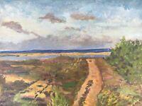 Ölgemälde Weite Landschaft im Sommer Ufer Küste lose Leinwand Anonym 32 x 39