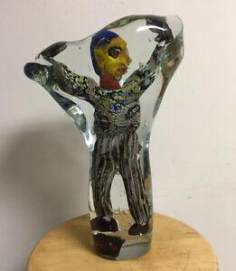 LARGE FIGURAL ABSTRACT MAN ART GLASS SCULPTURE, SIGNED DAVID HOPPER