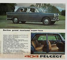 ANCIENNE PUBLICITÉ AUTO PEUGEOT 404 BERLINE GRAND TOURISME / SUPER-LUXE
