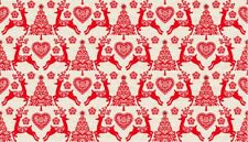 Fat Quarter Scandinavian Reindeer Set Red Christmas 100% Cotton Quilting Fabric