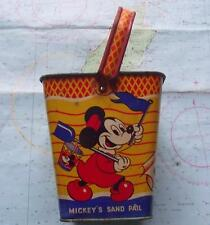 Superb RARE SQUARE c1930 Happynak Disney Minnie Mickey Mouse Sand Pail Bucket