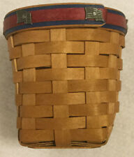 Longaberger Pencil Basket - With Pewter American Flags 4.5� Tall x 4� Diameter