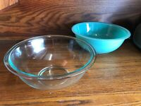 Vintage PYREX 325 TURQUOISE AQUA Clear Bottom MIXING BOWL Lot Of 2