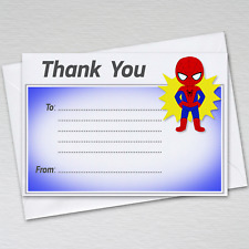 Pack of 20 Kids Spider-Man Thank You Letters Cards Childrens Boys Superhero