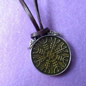 New Alchemy Gothic Pewter Aegishjalmur Helm of Awe Viking Pendant Necklace P875