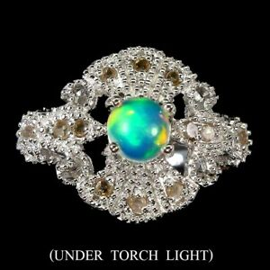 Round Fire Opal 5mm 16pcs Diamond Round Rose Cut 925 Sterling Silver Ring Size 6