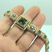 Turkish Handmade Jewelry 925 Sterling Silver Emerald Stone Women Bracelet